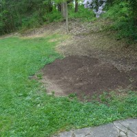 Filling in sunken areas is the yard on the left side of the house