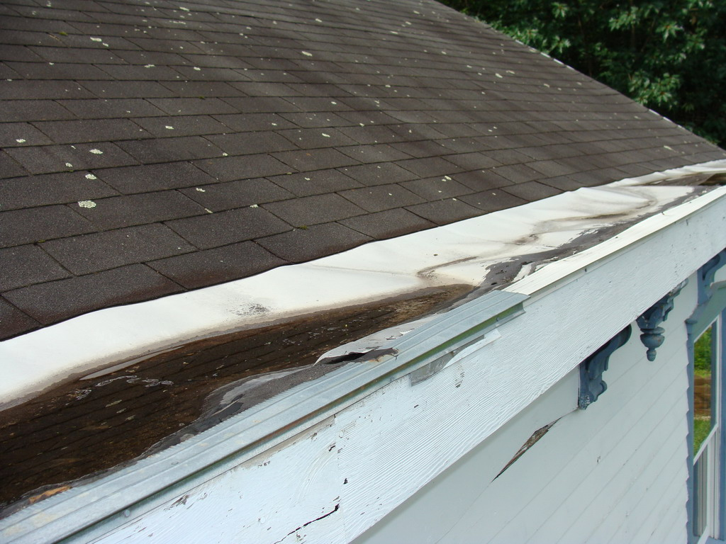 More fun with the leaking yankee gutters jon 39 s home blog for Leaking roof gutter
